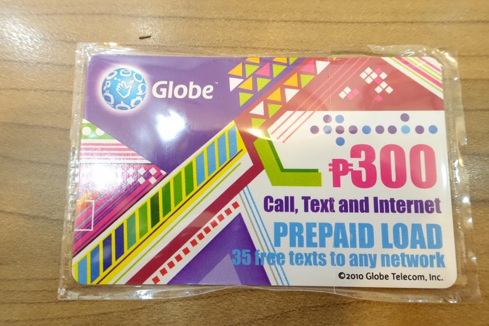 Globeのプリペイドカード(300ペソ)