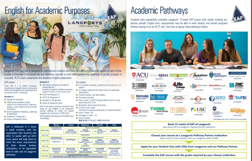 語学学校のEAPコースに入ればが現地の大学や専門学校を紹介してもらえる